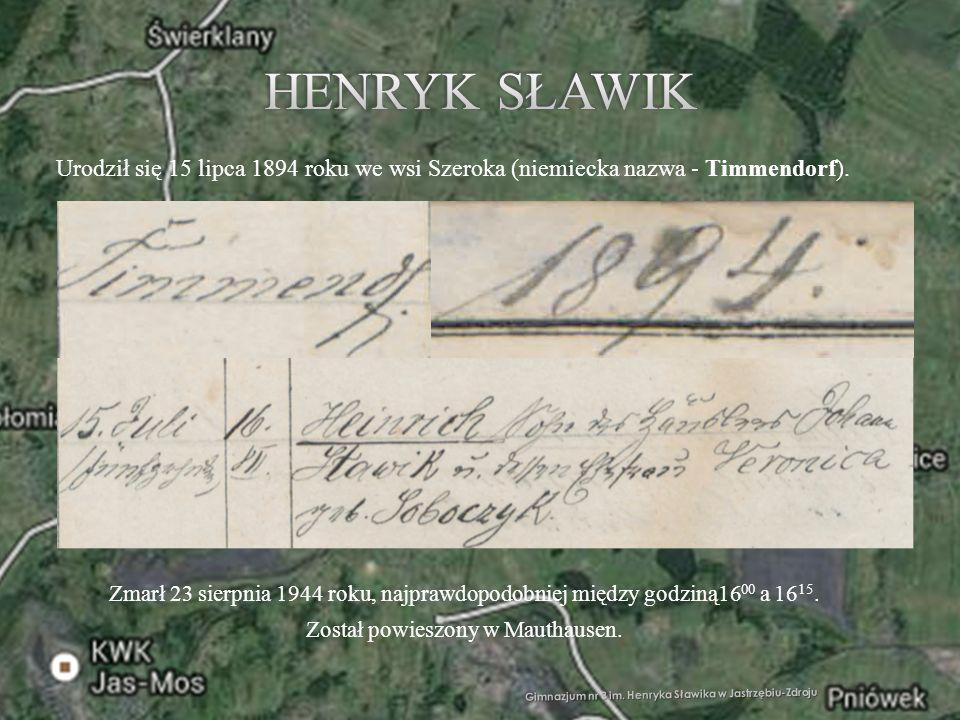 Gimnazjum nr 3 im. Henryka Sławika w Jastrzębiu-Zdroju Urodził się 15 lipca 1894 roku we wsi Szeroka (niemiecka nazwa - Timmendorf). Zmarł 23 sierpnia