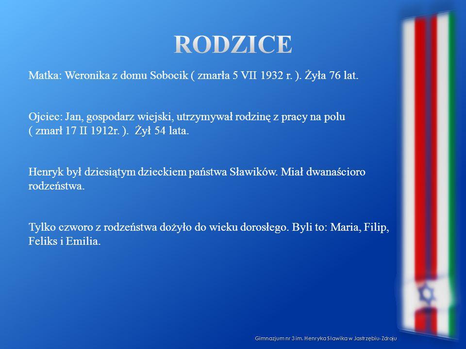 Gimnazjum nr 3 im. Henryka Sławika w Jastrzębiu-Zdroju Matka: Weronika z domu Sobocik ( zmarła 5 VII 1932 r. ). Żyła 76 lat. Ż Ojciec: Jan, gospodarz