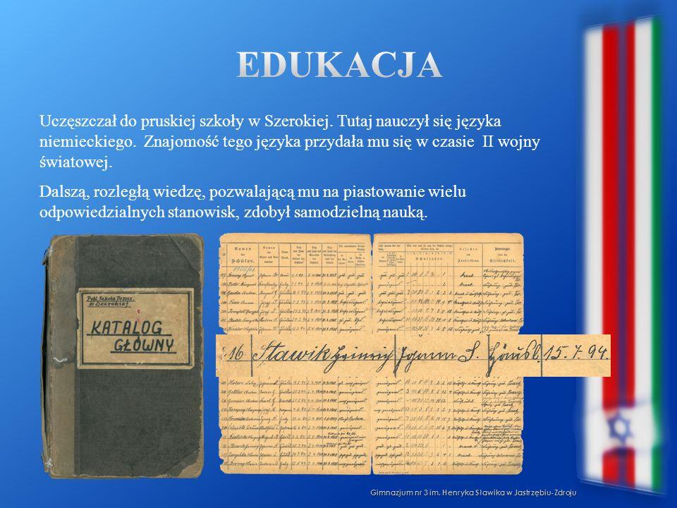 Uczęszczał do pruskiej szkoły w Szerokiej. Tutaj nauczył się języka niemieckiego. Znajomość tego języka przydała mu się w czasie II wojny światowej. D