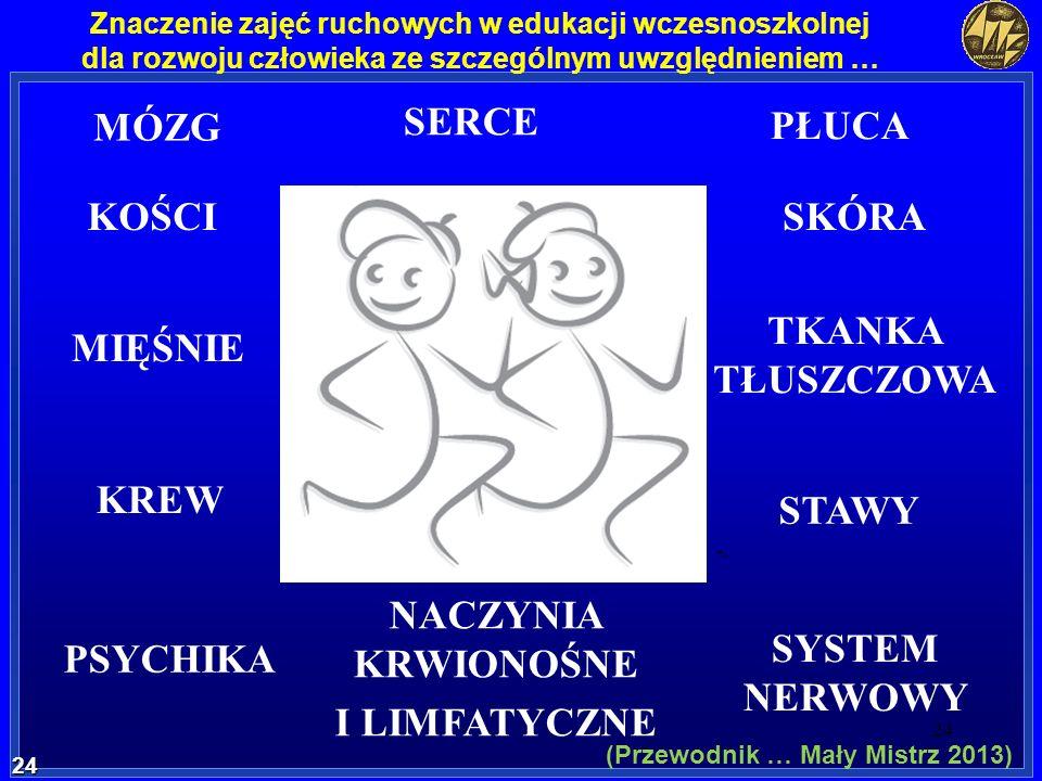 24 24 Znaczenie zajęć ruchowych w edukacji wczesnoszkolnej dla rozwoju człowieka ze szczególnym uwzględnieniem … MÓZG SERCE PŁUCA SKÓRA TKANKA TŁUSZCZ