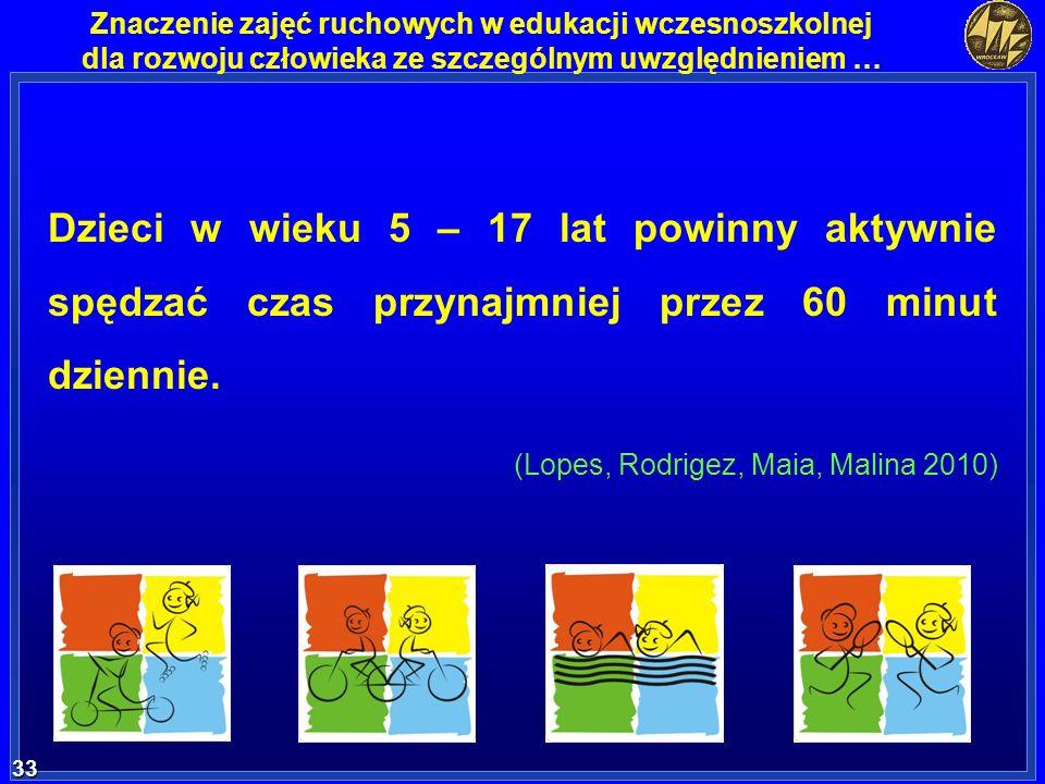 33 33 Znaczenie zajęć ruchowych w edukacji wczesnoszkolnej dla rozwoju człowieka ze szczególnym uwzględnieniem … Dzieci w wieku 5 – 17 lat powinny akt