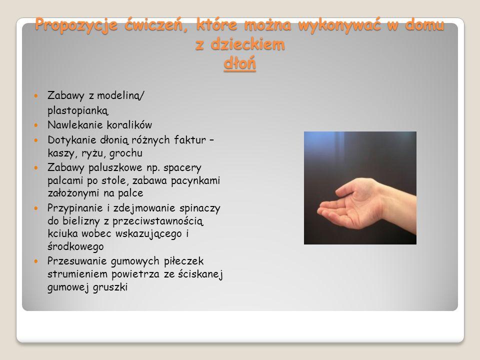 Propozycje ćwiczeń, które można wykonywać w domu z dzieckiem dłoń Zabawy z modeliną/ plastopianką Nawlekanie koralików Dotykanie dłonią różnych faktur