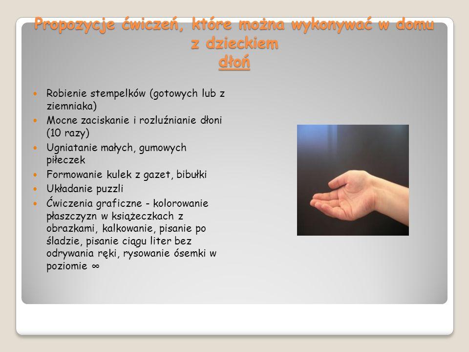 Propozycje ćwiczeń, które można wykonywać w domu z dzieckiem dłoń Robienie stempelków (gotowych lub z ziemniaka) Mocne zaciskanie i rozluźnianie dłoni