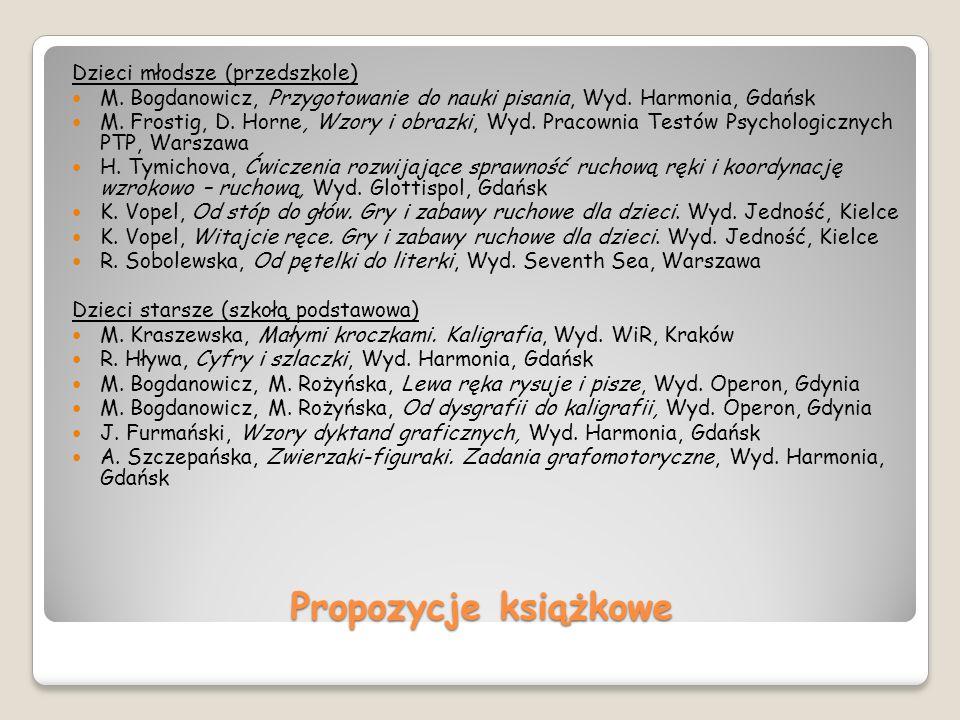 Propozycje książkowe Dzieci młodsze (przedszkole) M. Bogdanowicz, Przygotowanie do nauki pisania, Wyd. Harmonia, Gdańsk M. Frostig, D. Horne, Wzory i