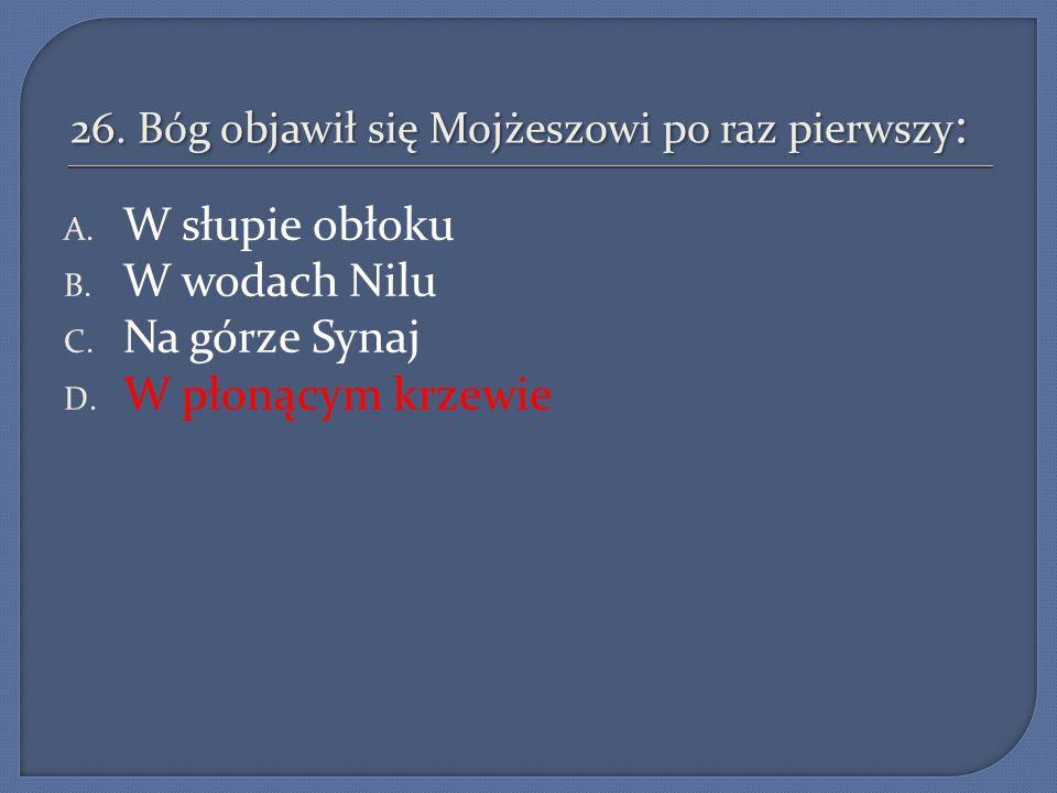 26. Bóg objawił się Mojżeszowi po raz pierwszy : A. W słupie obłoku B. W wodach Nilu C. Na górze Synaj D. W płonącym krzewie