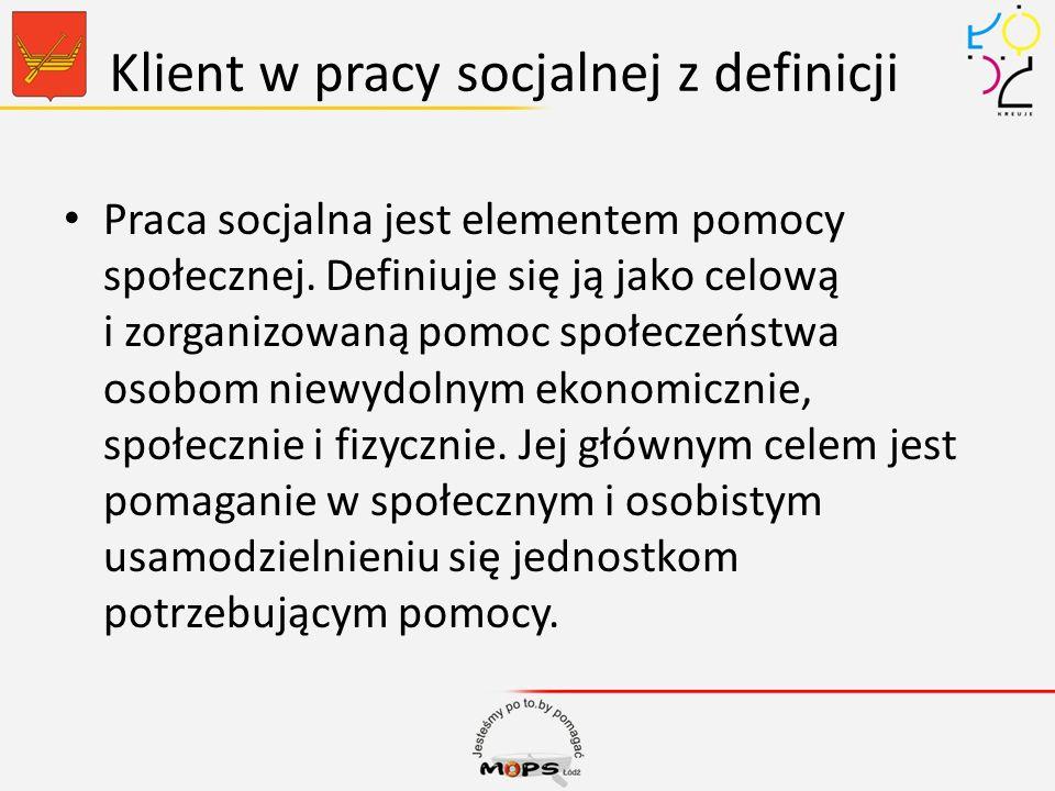 Klient w pracy socjalnej z definicji Praca socjalna jest elementem pomocy społecznej. Definiuje się ją jako celową i zorganizowaną pomoc społeczeństwa