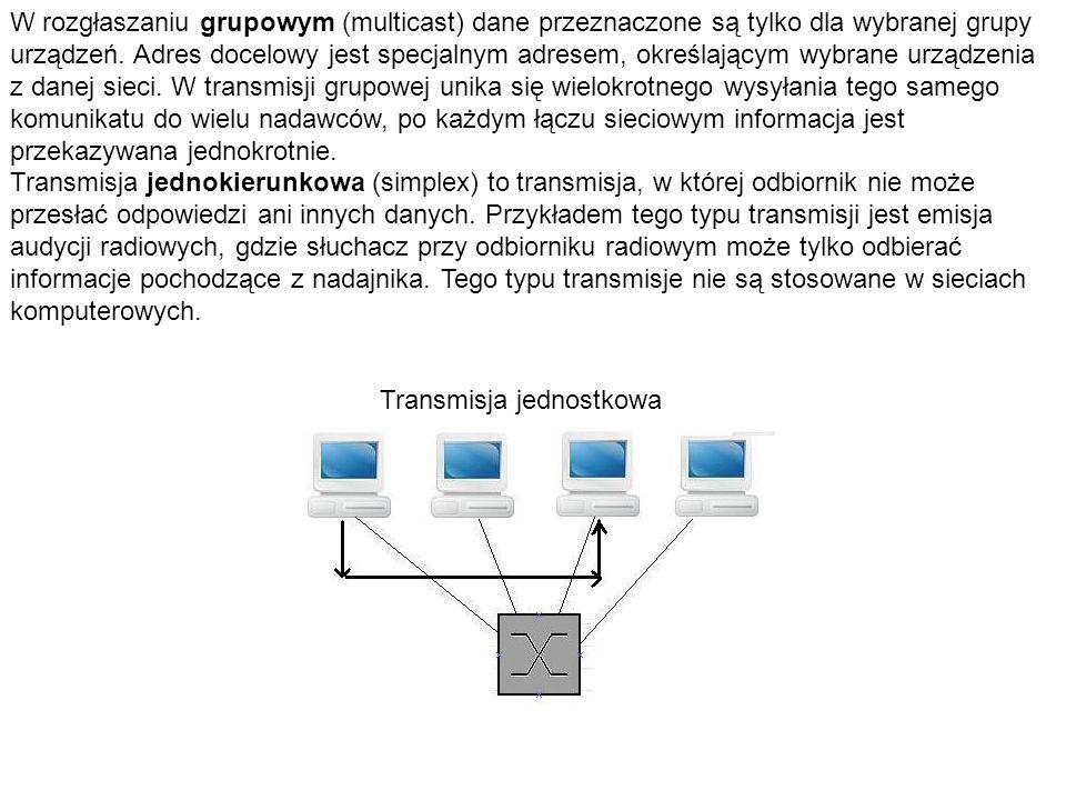 W rozgłaszaniu grupowym (multicast) dane przeznaczone są tylko dla wybranej grupy urządzeń. Adres docelowy jest specjalnym adresem, określającym wybra