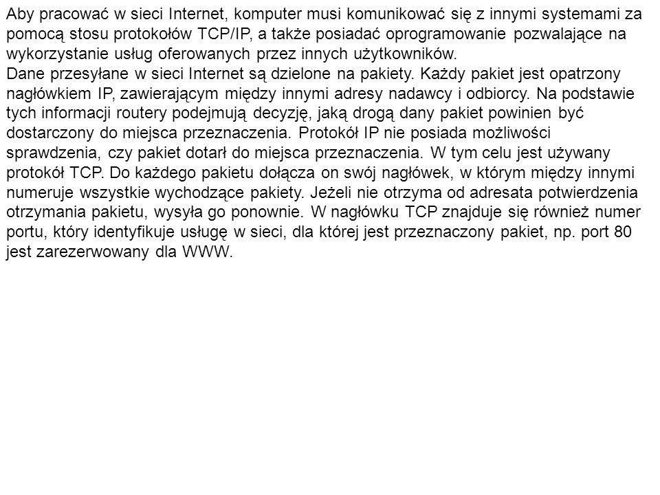 Aby pracować w sieci Internet, komputer musi komunikować się z innymi systemami za pomocą stosu protokołów TCP/IP, a także posiadać oprogramowanie poz
