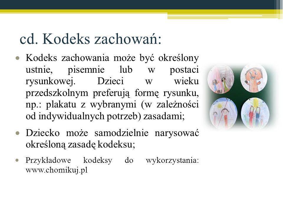 cd. Kodeks zachowań: Kodeks zachowania może być określony ustnie, pisemnie lub w postaci rysunkowej. Dzieci w wieku przedszkolnym preferują formę rysu