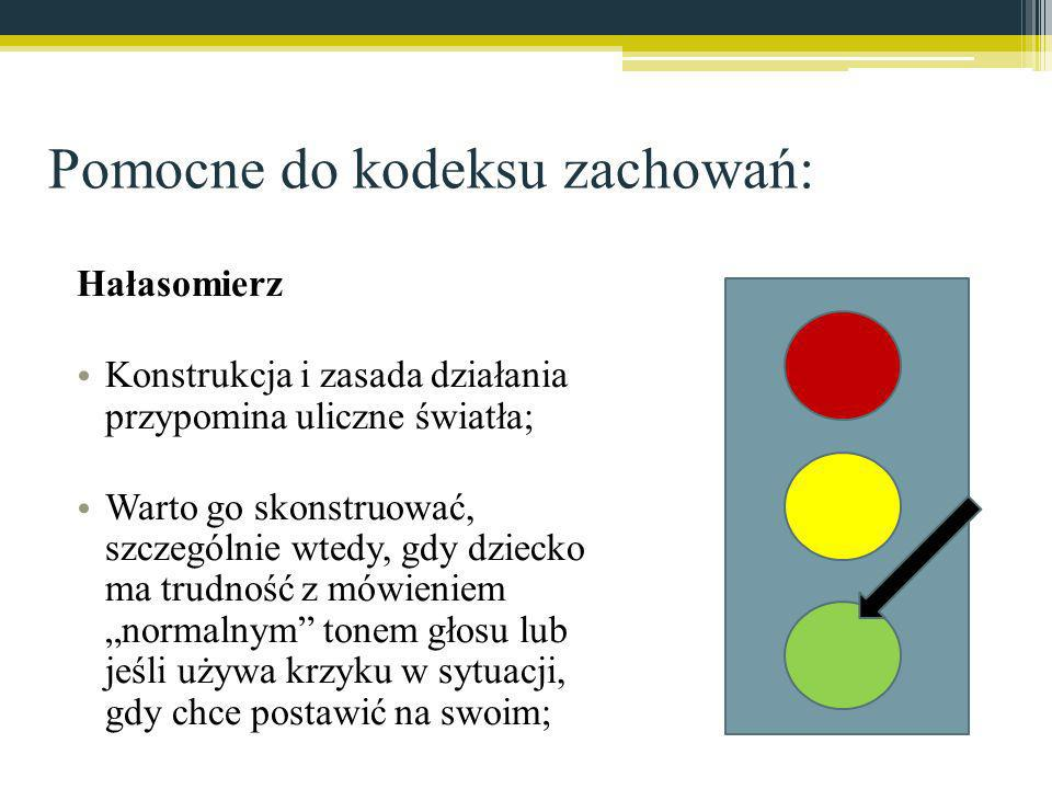 Pomocne do kodeksu zachowań: Hałasomierz Konstrukcja i zasada działania przypomina uliczne światła; Warto go skonstruować, szczególnie wtedy, gdy dzie