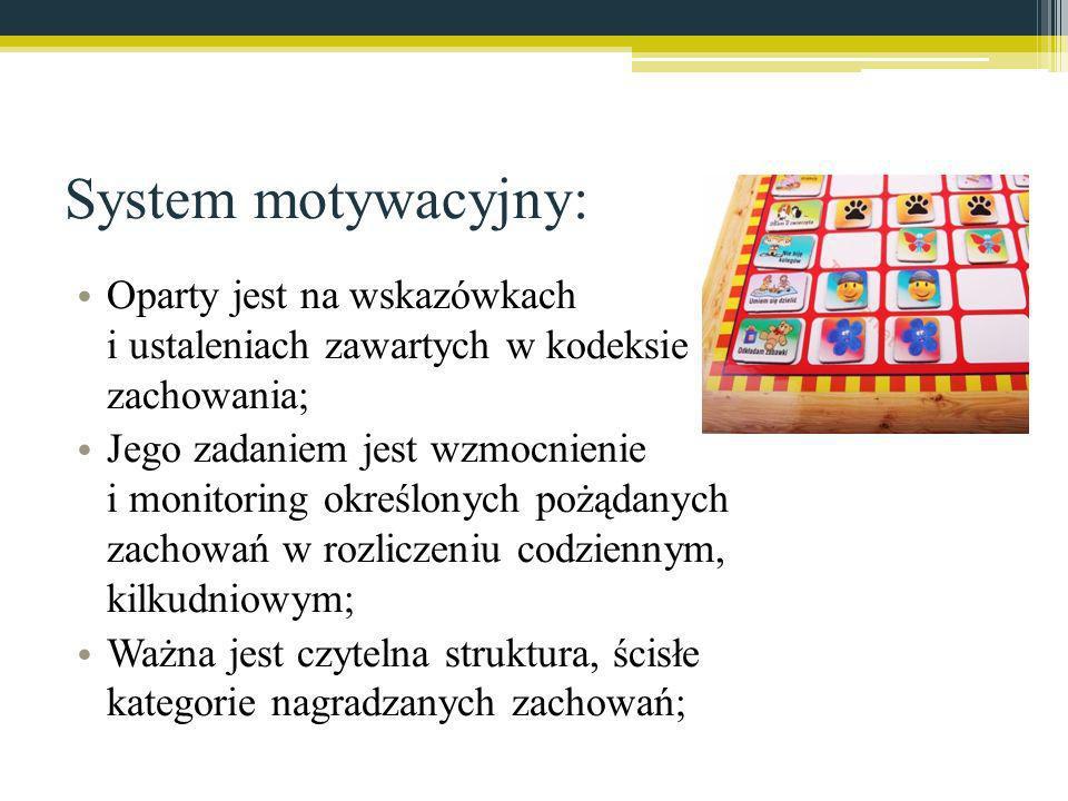 System motywacyjny: Oparty jest na wskazówkach i ustaleniach zawartych w kodeksie zachowania; Jego zadaniem jest wzmocnienie i monitoring określonych