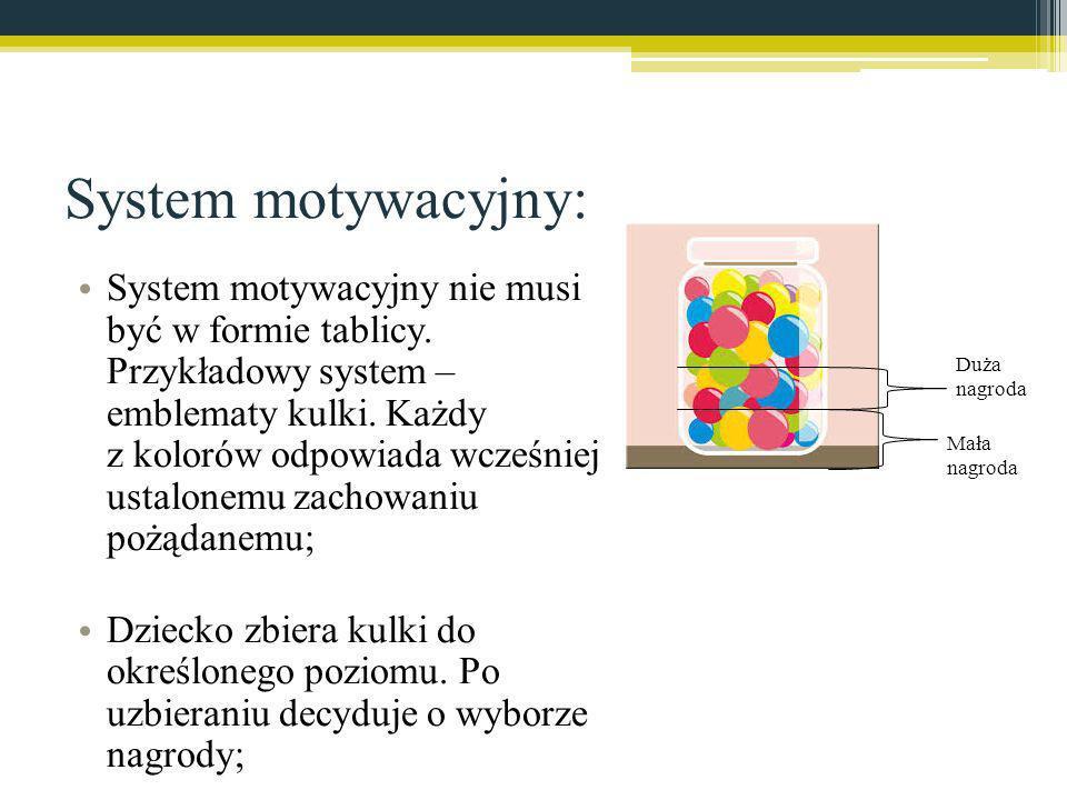 System motywacyjny: System motywacyjny nie musi być w formie tablicy. Przykładowy system – emblematy kulki. Każdy z kolorów odpowiada wcześniej ustalo