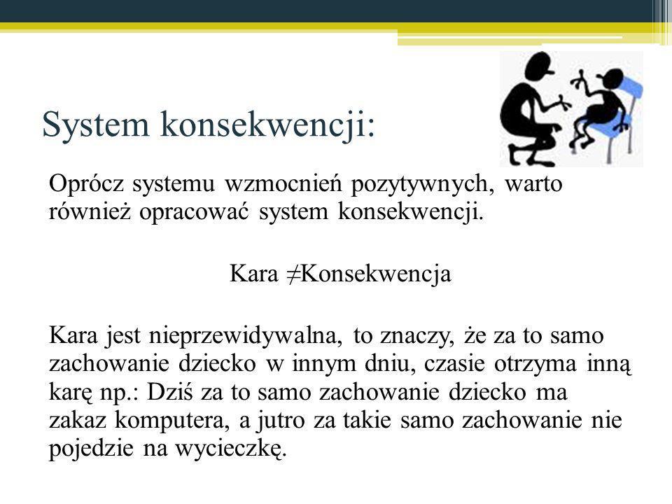 System konsekwencji: Oprócz systemu wzmocnień pozytywnych, warto również opracować system konsekwencji. Kara Konsekwencja Kara jest nieprzewidywalna,
