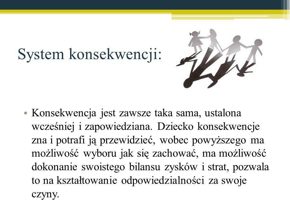 System konsekwencji: Konsekwencja jest zawsze taka sama, ustalona wcześniej i zapowiedziana. Dziecko konsekwencje zna i potrafi ją przewidzieć, wobec