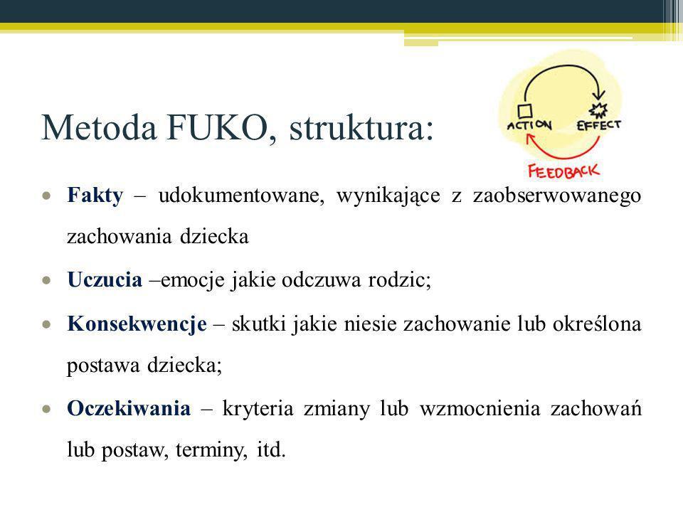 Metoda FUKO, struktura: Fakty – udokumentowane, wynikające z zaobserwowanego zachowania dziecka Uczucia –emocje jakie odczuwa rodzic; Konsekwencje – s