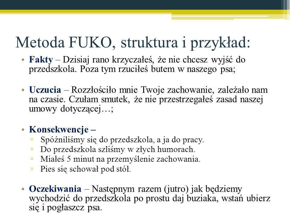Metoda FUKO, struktura i przykład: Fakty – Dzisiaj rano krzyczałeś, że nie chcesz wyjść do przedszkola. Poza tym rzuciłeś butem w naszego psa; Uczucia