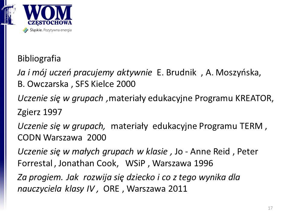 Bibliografia Ja i mój uczeń pracujemy aktywnie E. Brudnik, A. Moszyńska, B. Owczarska, SFS Kielce 2000 Uczenie się w grupach,materiały edukacyjne Prog