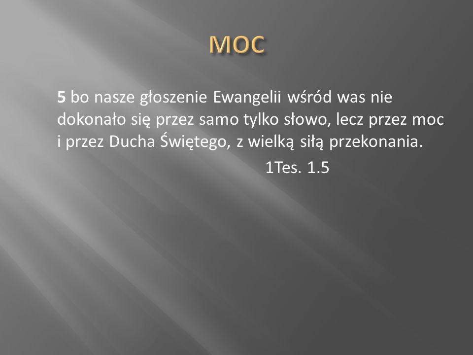 5 bo nasze głoszenie Ewangelii wśród was nie dokonało się przez samo tylko słowo, lecz przez moc i przez Ducha Świętego, z wielką siłą przekonania. 1T