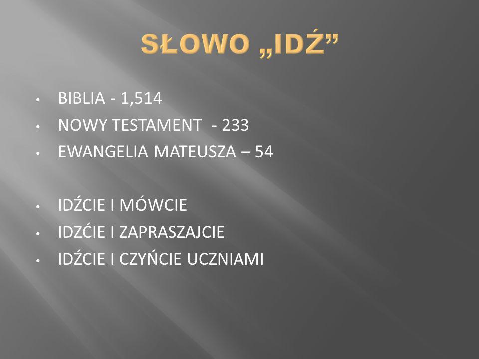 BIBLIA - 1,514 NOWY TESTAMENT - 233 EWANGELIA MATEUSZA – 54 IDŹCIE I MÓWCIE IDZĆIE I ZAPRASZAJCIE IDŹCIE I CZYŃCIE UCZNIAMI