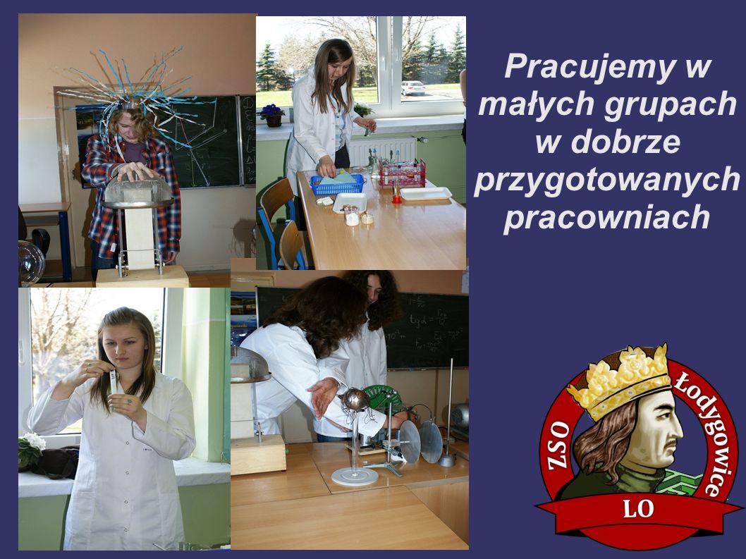 Pracujemy w małych grupach w dobrze przygotowanych pracowniach