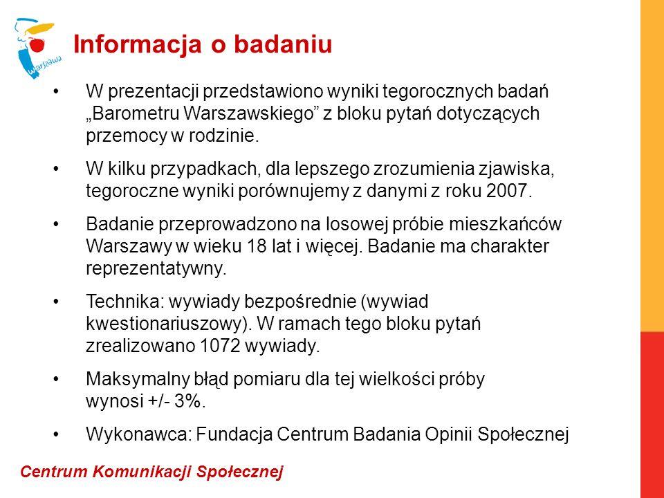 Informacja o badaniu W prezentacji przedstawiono wyniki tegorocznych badań Barometru Warszawskiego z bloku pytań dotyczących przemocy w rodzinie. W ki
