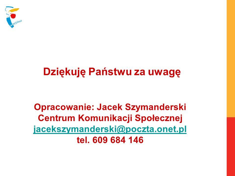 Opracowanie: Jacek Szymanderski Centrum Komunikacji Społecznej jacekszymanderski@poczta.onet.pl tel. 609 684 146 jacekszymanderski@poczta.onet.pl Dzię