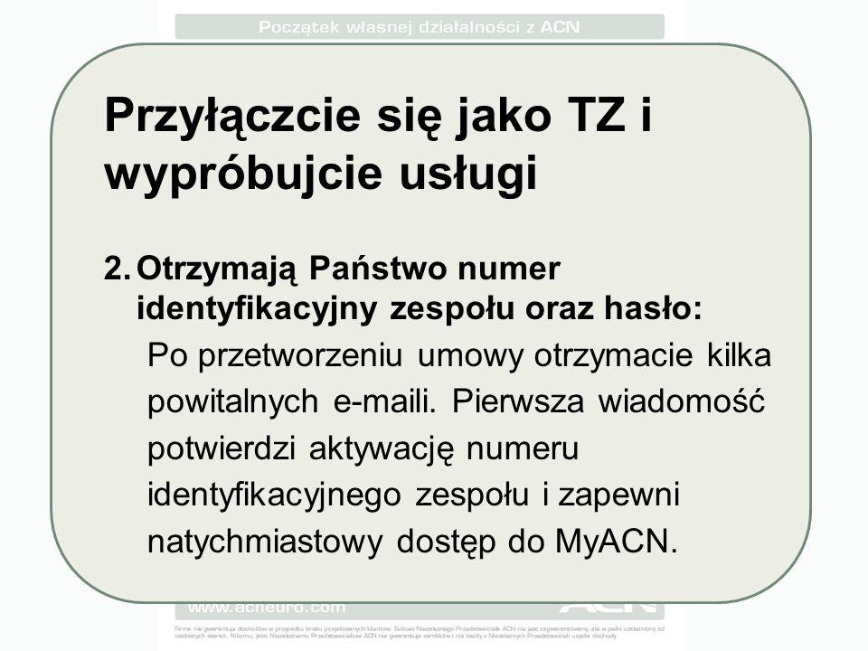 Przyłączcie się jako TZ i wypróbujcie usługi 2.Otrzymają Państwo numer identyfikacyjny zespołu oraz hasło: Po przetworzeniu umowy otrzymacie kilka powitalnych e-maili.