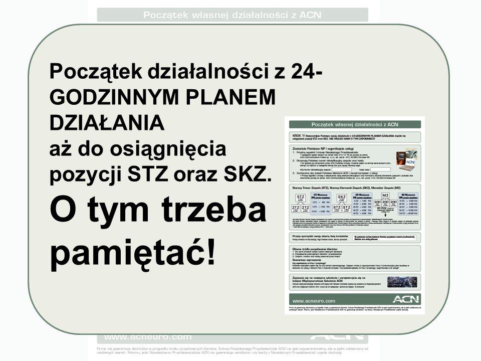 Początek działalności z 24- GODZINNYM PLANEM DZIAŁANIA aż do osiągnięcia pozycji STZ oraz SKZ.
