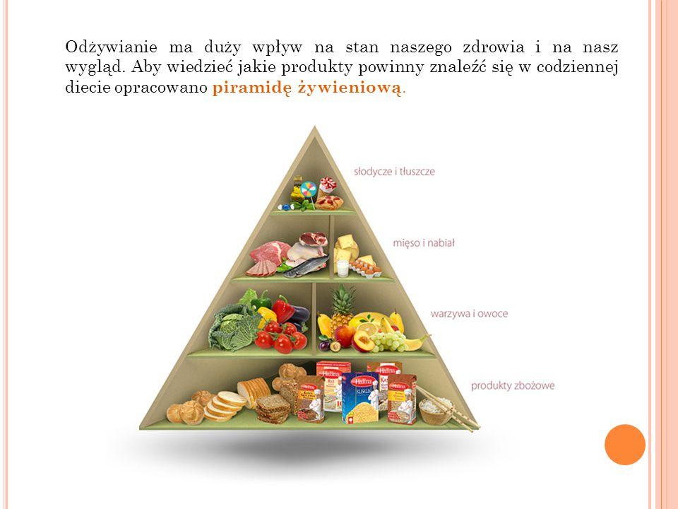 Odżywianie ma duży wpływ na stan naszego zdrowia i na nasz wygląd. Aby wiedzieć jakie produkty powinny znaleźć się w codziennej diecie opracowano pira