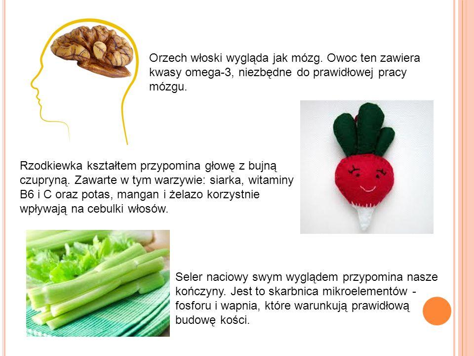 Orzech włoski wygląda jak mózg. Owoc ten zawiera kwasy omega-3, niezbędne do prawidłowej pracy mózgu. Rzodkiewka kształtem przypomina głowę z bujną cz