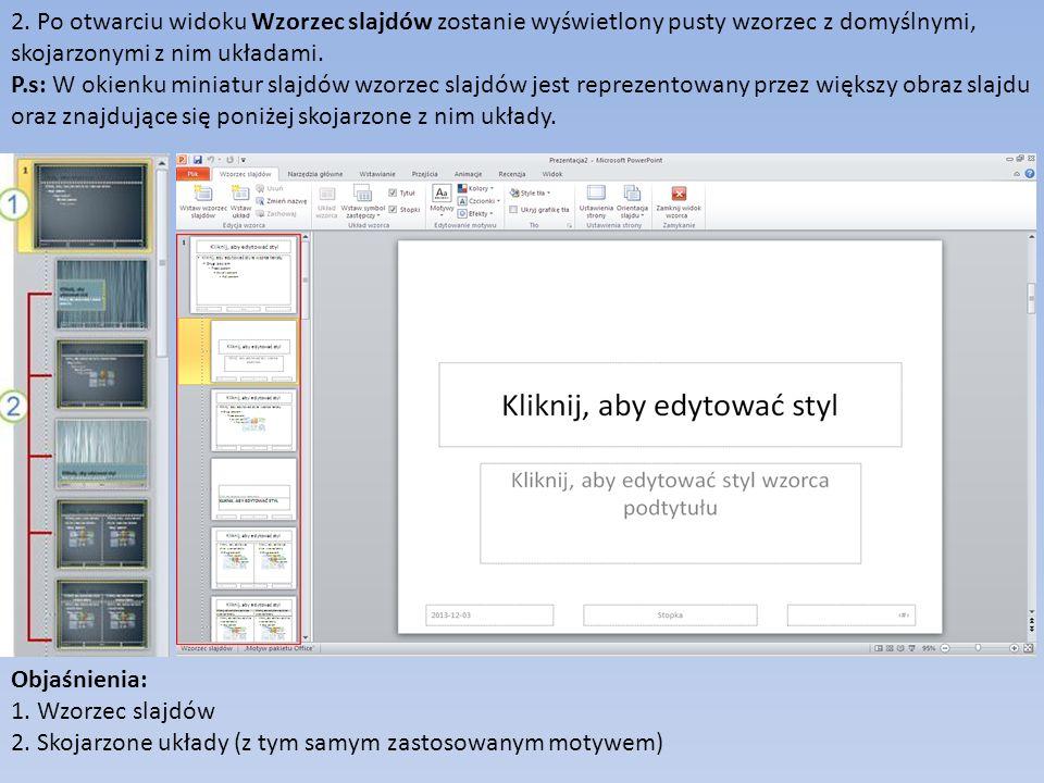 2. Po otwarciu widoku Wzorzec slajdów zostanie wyświetlony pusty wzorzec z domyślnymi, skojarzonymi z nim układami. P.s: W okienku miniatur slajdów wz