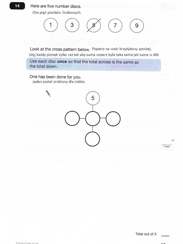 Oto pięć pionków liczbowych. Popatrz na wzór krzyżykowy ponizej.