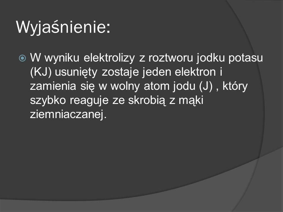 Wyjaśnienie: W wyniku elektrolizy z roztworu jodku potasu (KJ) usunięty zostaje jeden elektron i zamienia się w wolny atom jodu (J), który szybko reag