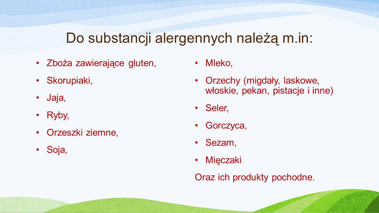 Do substancji alergennych należą m.in: Zboża zawierające gluten, Skorupiaki, Jaja, Ryby, Orzeszki ziemne, Soja, Mleko, Orzechy (migdały, laskowe, włoskie, pekan, pistacje i inne) Seler, Gorczyca, Sezam, Mięczaki Oraz ich produkty pochodne.