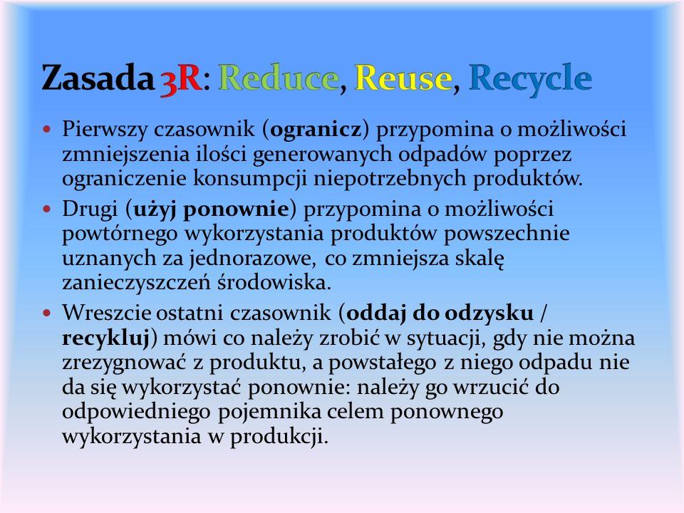 Pierwszy czasownik (ogranicz) przypomina o możliwości zmniejszenia ilości generowanych odpadów poprzez ograniczenie konsumpcji niepotrzebnych produktó