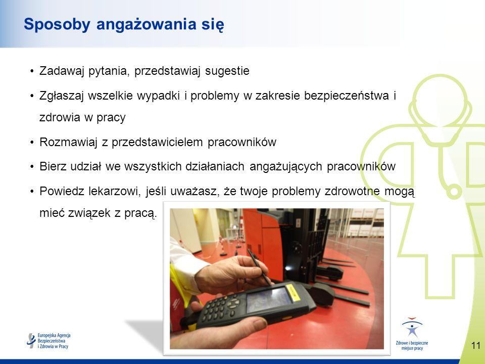 11 www.healthy-workplaces.eu Sposoby angażowania się Zadawaj pytania, przedstawiaj sugestie Zgłaszaj wszelkie wypadki i problemy w zakresie bezpieczeń