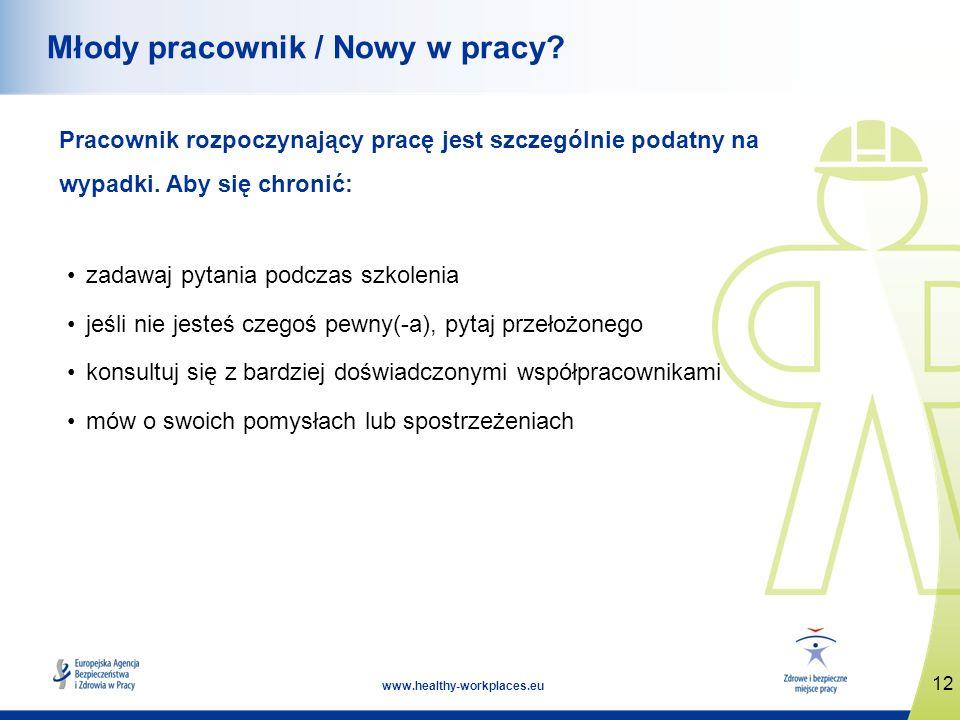 12 www.healthy-workplaces.eu Młody pracownik / Nowy w pracy? Pracownik rozpoczynający pracę jest szczególnie podatny na wypadki. Aby się chronić: zada