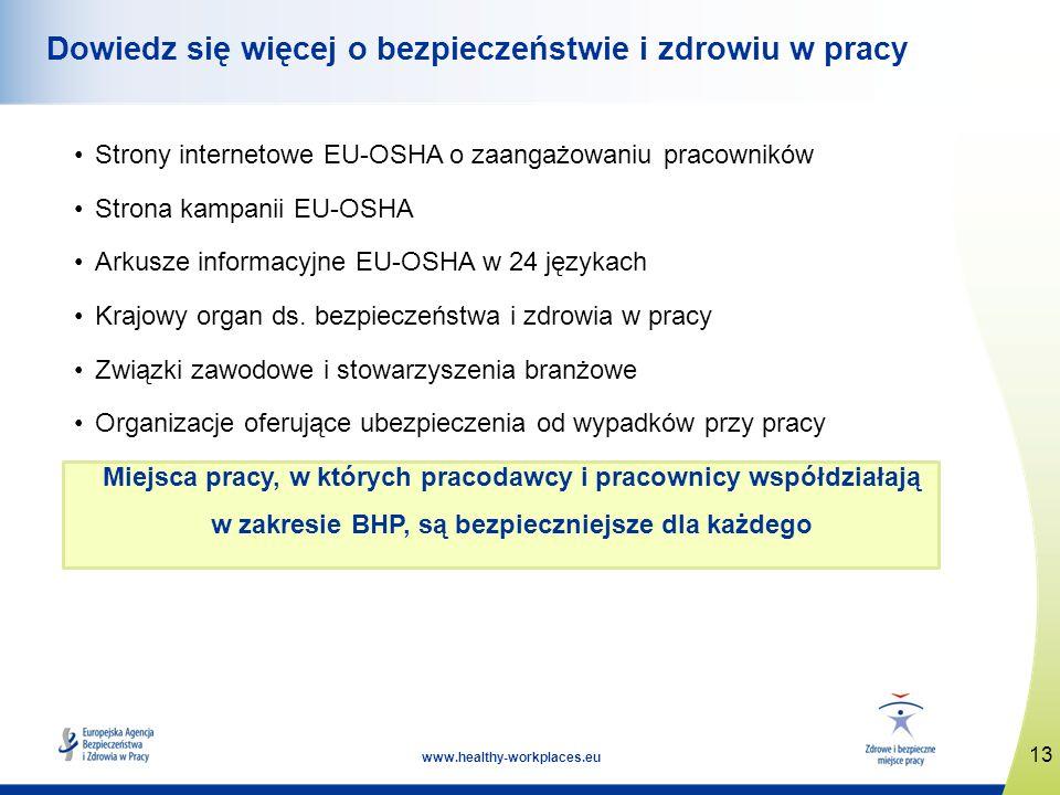 13 www.healthy-workplaces.eu Dowiedz się więcej o bezpieczeństwie i zdrowiu w pracy Strony internetowe EU-OSHA o zaangażowaniu pracowników Strona kamp