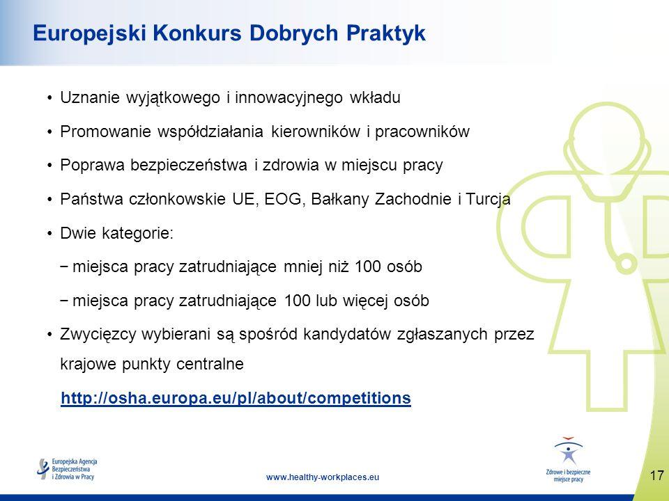 17 www.healthy-workplaces.eu Europejski Konkurs Dobrych Praktyk Uznanie wyjątkowego i innowacyjnego wkładu Promowanie współdziałania kierowników i pra