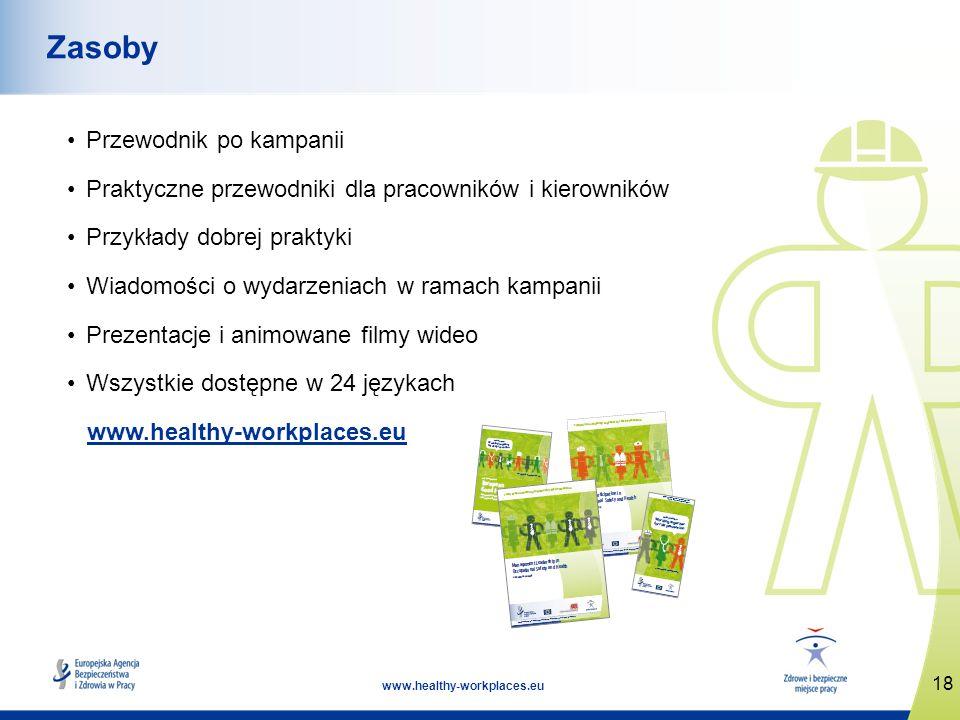 18 www.healthy-workplaces.eu Zasoby Przewodnik po kampanii Praktyczne przewodniki dla pracowników i kierowników Przykłady dobrej praktyki Wiadomości o