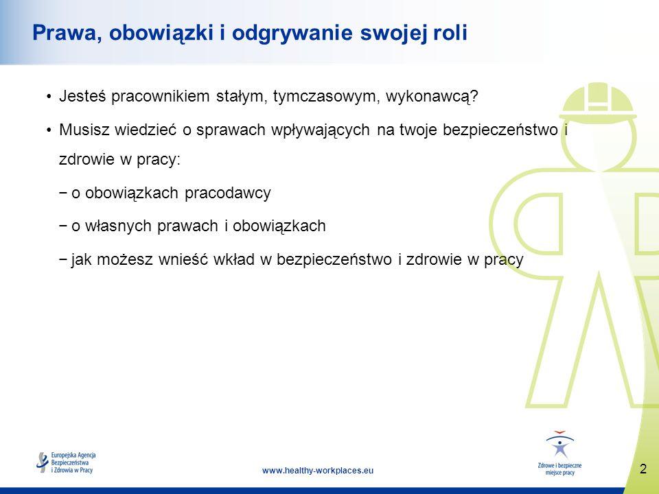 2 www.healthy-workplaces.eu Prawa, obowiązki i odgrywanie swojej roli Jesteś pracownikiem stałym, tymczasowym, wykonawcą? Musisz wiedzieć o sprawach w