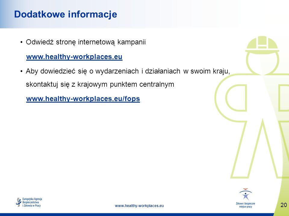 20 www.healthy-workplaces.eu Dodatkowe informacje Odwiedź stronę internetową kampanii www.healthy-workplaces.eu Aby dowiedzieć się o wydarzeniach i dz