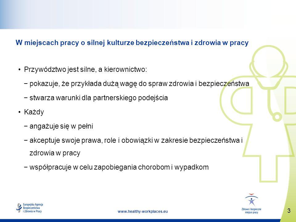3 www.healthy-workplaces.eu W miejscach pracy o silnej kulturze bezpieczeństwa i zdrowia w pracy Przywództwo jest silne, a kierownictwo: pokazuje, że