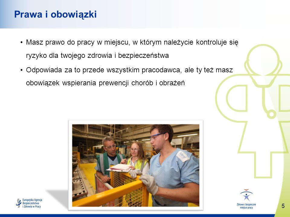 6 www.healthy-workplaces.eu Co pracodawca musi zrobić dla ochrony twojego bezpieczeństwa i zdrowia Oceniać ryzyko i wdrażać środki zapobiegawcze Omawiać z tobą ryzyko i szkolić cię Zapewnić toalety, wodę pitną, wyposażenie umożliwiające odpoczynek i udzielenie pierwszej pomocy oraz ewentualny sprzęt i odzież ochronną Zgłaszać obrażenia, choroby i niebezpieczne wypadki Współpracować z innymi pracodawcami i wykonawcami działającymi w miejscu pracy oraz z agencjami tymczasowego zatrudnienia Konsultować się z tobą i twoimi przedstawicielami w sprawach ryzyka i środków bezpieczeństwa oraz angażować was w te sprawy Przepisy i praktyki krajowe mogą określać różne sposoby prowadzenia konsultacji