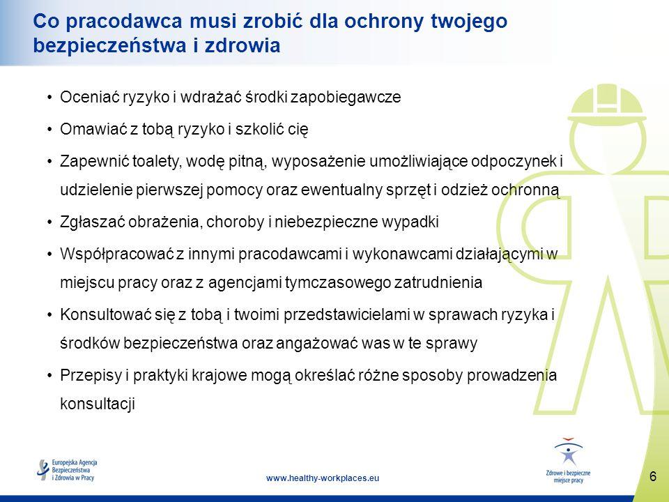 6 www.healthy-workplaces.eu Co pracodawca musi zrobić dla ochrony twojego bezpieczeństwa i zdrowia Oceniać ryzyko i wdrażać środki zapobiegawcze Omawi