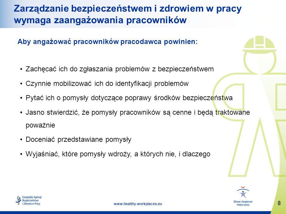 8 www.healthy-workplaces.eu Zarządzanie bezpieczeństwem i zdrowiem w pracy wymaga zaangażowania pracowników Aby angażować pracowników pracodawca powin