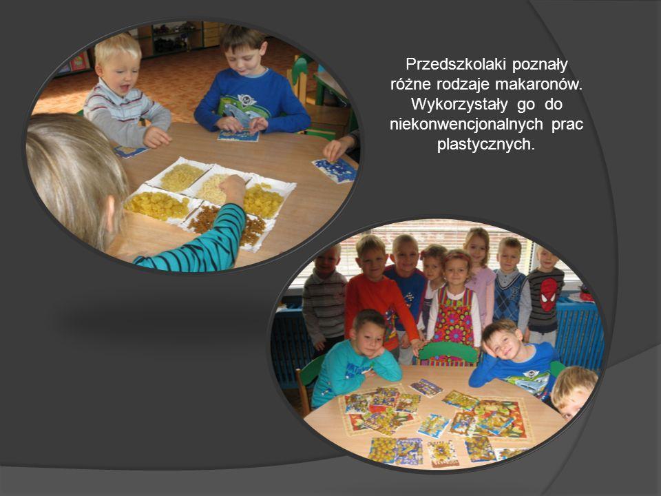 Przedszkolaki poznały różne rodzaje makaronów. Wykorzystały go do niekonwencjonalnych prac plastycznych.