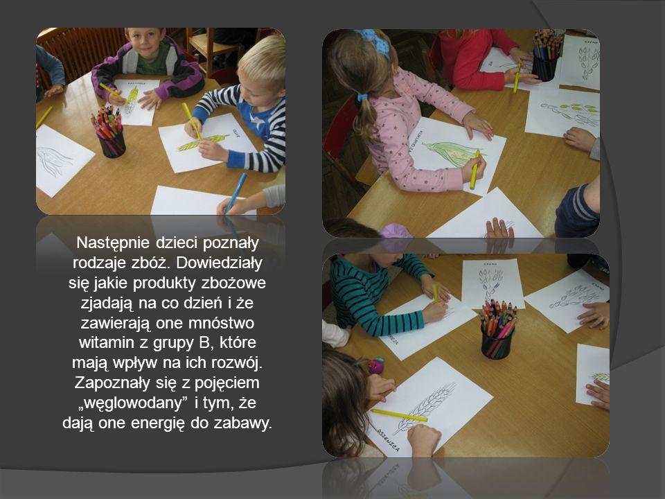 Następnie dzieci poznały rodzaje zbóż. Dowiedziały się jakie produkty zbożowe zjadają na co dzień i że zawierają one mnóstwo witamin z grupy B, które