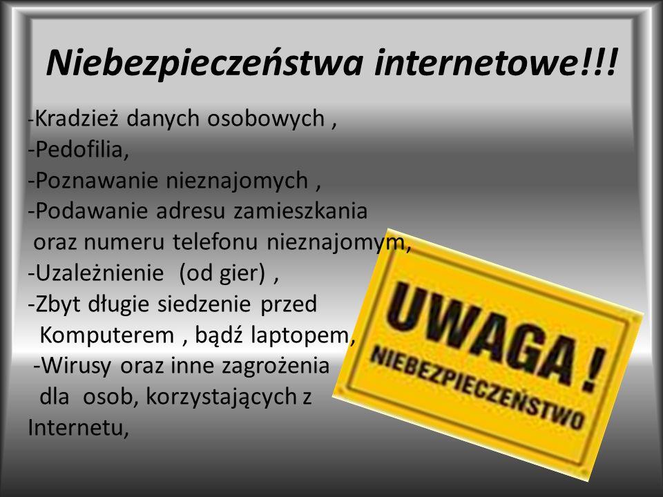 Niebezpieczeństwa internetowe!!! - Kradzież danych osobowych, -Pedofilia, -Poznawanie nieznajomych, -Podawanie adresu zamieszkania oraz numeru telefon