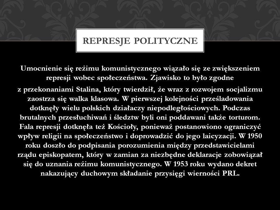 Umocnienie się reżimu komunistycznego wiązało się ze zwiększeniem represji wobec społeczeństwa. Zjawisko to było zgodne z przekonaniami Stalina, który